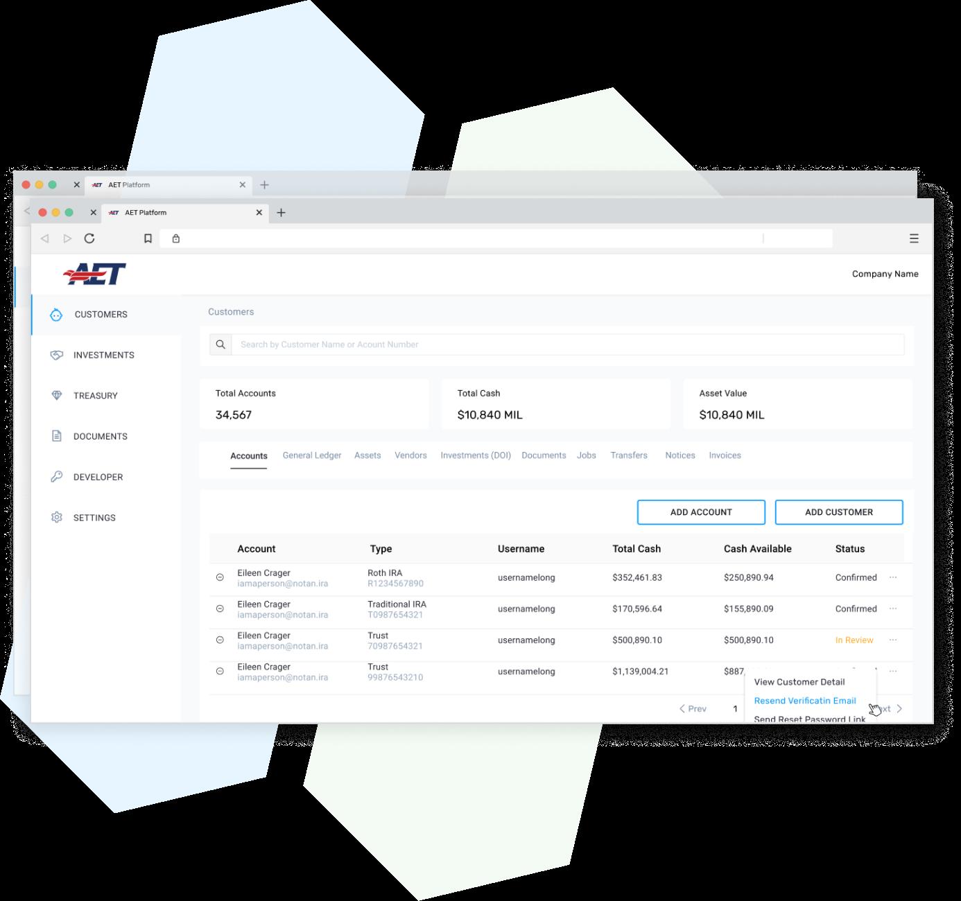 platform screenshot of customers
