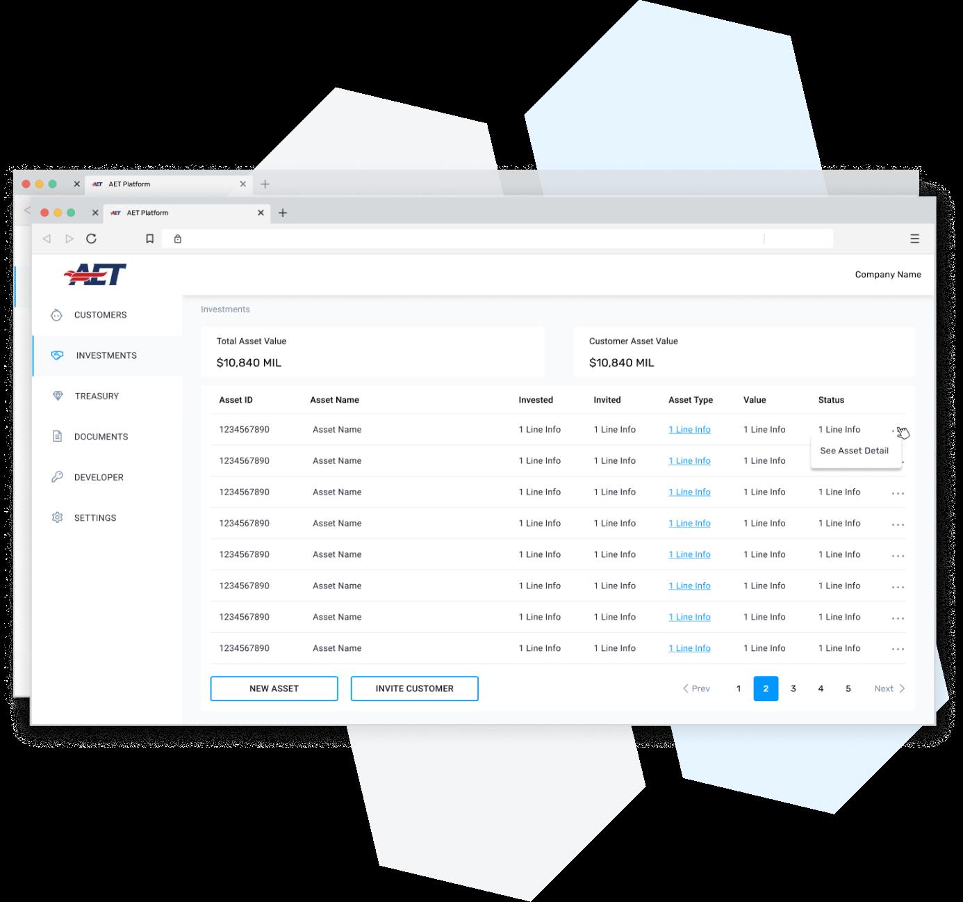 platform screenshot of investments batch