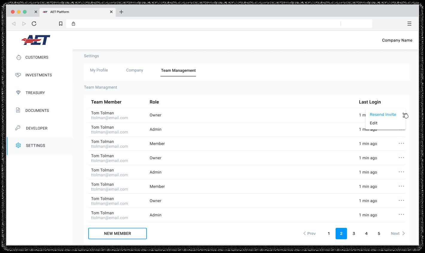 platform screenshot of settings view