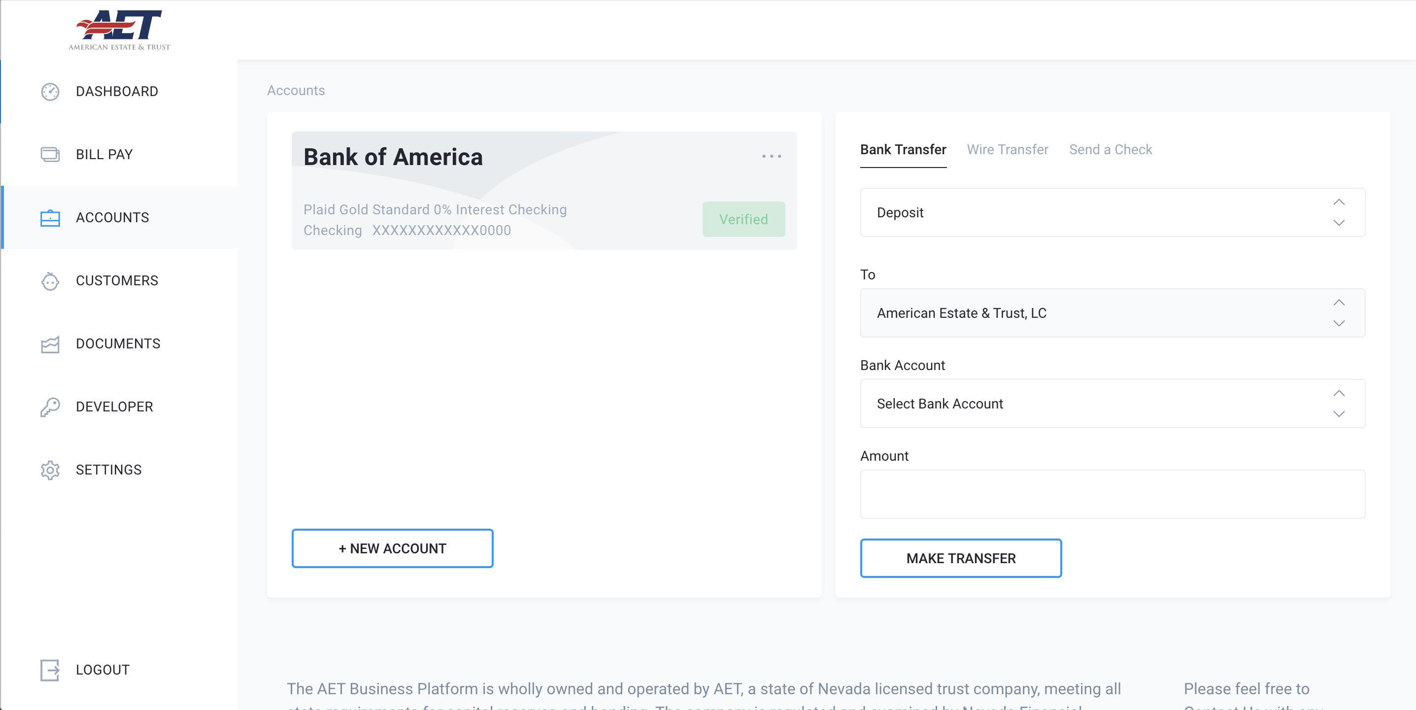 platform screenshot of accounts view