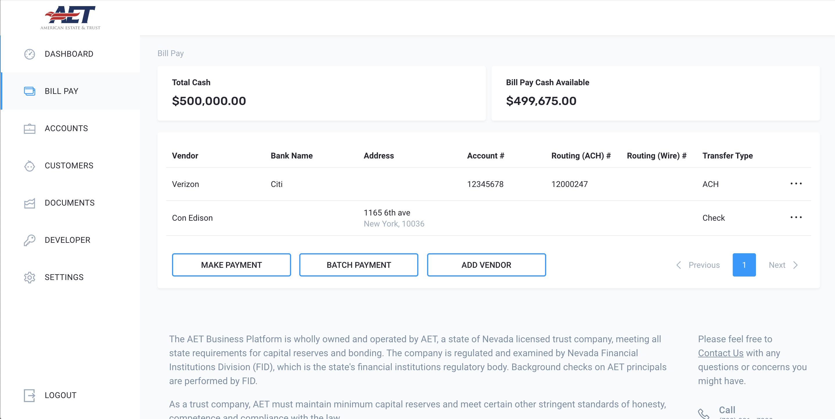 platform screenshot of billpay