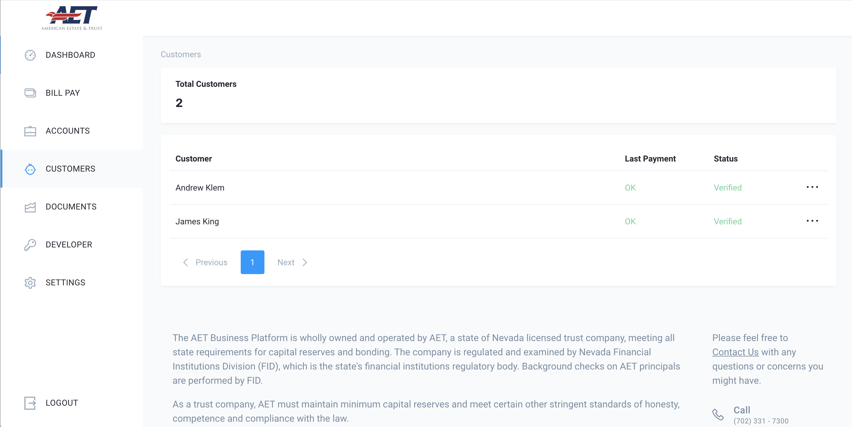 platform screenshot of customers view