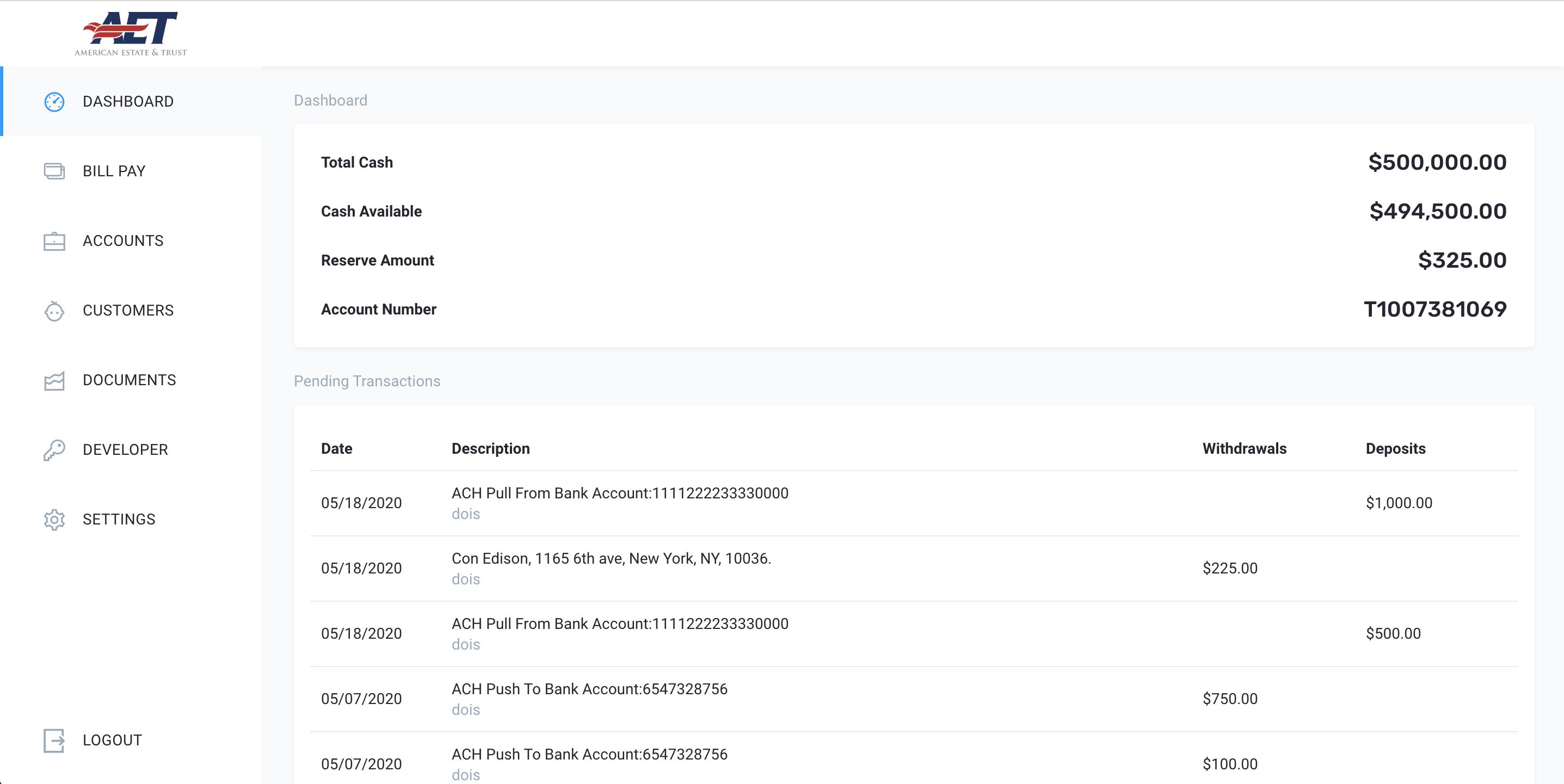platform screenshot of dashboard