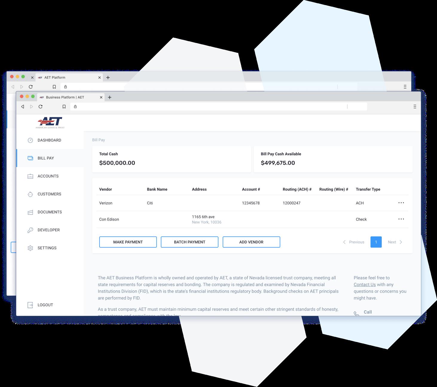 platform screenshot of billpay batch2