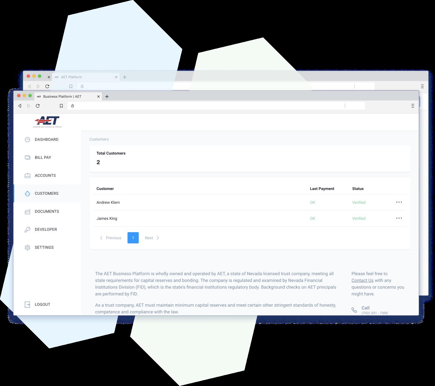 platform screenshot of customers you can view